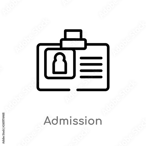Fotografía  outline admission vector icon