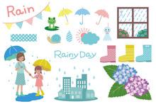 梅雨のイラストセット