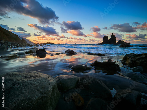Spoed Foto op Canvas Nieuw Zeeland Beautiful Benijo beach, Anaga, Tenerife, Canary Islands at sunset