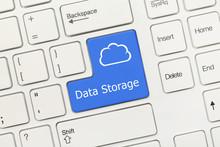 White Conceptual Keyboard - Data Storage (blue Key With Cloud Symbol)