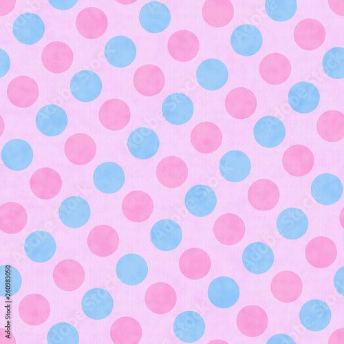 Pink and Blue Polka Dot Fabric Background