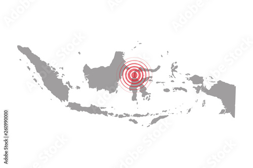 Fotografía Earthquake and tsunami in Sulawesi, Indonesia with circle affected area
