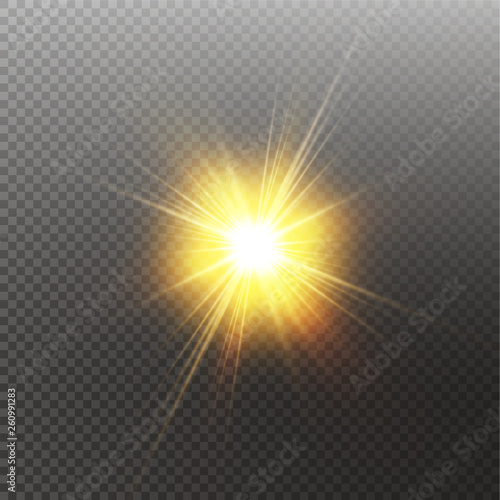 Fotografia  Bright shining sun Isolated on black background