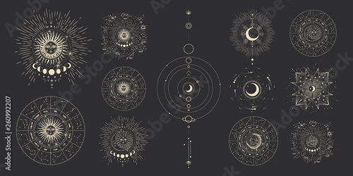 Poster Artificiel Vector illustration set of moon phases. Different stages of moonlight activity in vintage engraving style. Zodiac Signs
