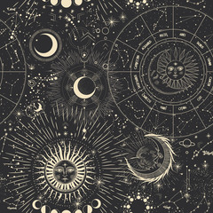 FototapetaVector illustration set of moon phases. Different stages of moonlight activity in vintage engraving style. Zodiac Signs