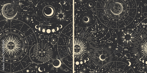 Türaufkleber Künstlich Vector illustration set of moon phases. Different stages of moonlight activity in vintage engraving style. Zodiac Signs