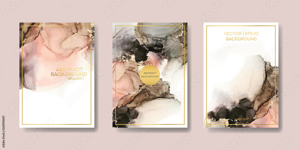 Fototapety, obrazy: the big set of liquid marble with gold. flyer, business card, flyer, brochure, poster, for printing. trend vector