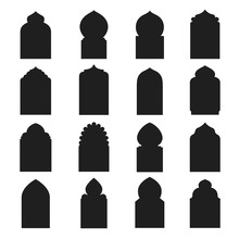 Arabic Arch Window And Doors Black Set