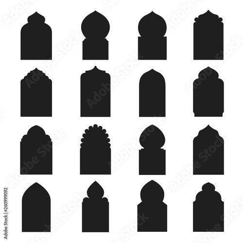 Fotografía Arabic arch window and doors black set