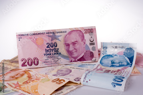 Photo  Turksh Lira banknotes of various color, pattern and value
