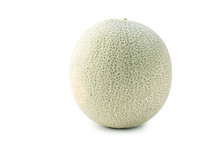 Close Up, Clipping Path, Cut Out, Beautiful Rock Cantaloup Melon Isolated On White Background
