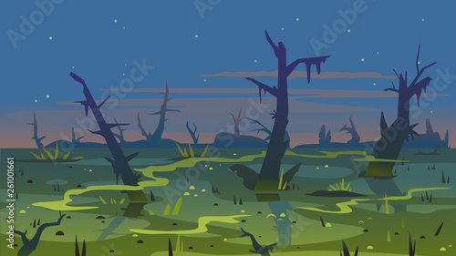 Canvas Print Dark swamp landscape with dead trees in fog around plants, terrible mystical pla