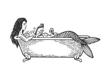 Mermaid Reading Book In Bath Sketch Engraving Vector Illustration. Scratch Board Style Imitation. Black And White Hand Drawn Image.
