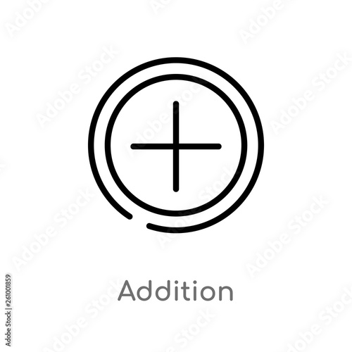 Photo outline addition vector icon