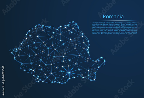 Romania communication network map Canvas Print
