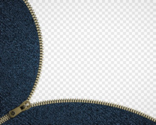 Zipper On Denim. Isolated On A Transparent Background.