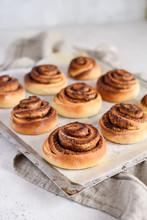 Homemade Cinnamon Buns On A Baking Sheet. Delicious Cinnamon Rolls