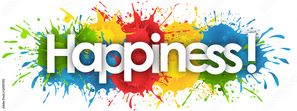 Fototapeta happiness word in splash's background