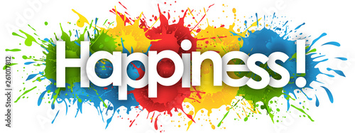 happiness word in splash's background Fotobehang