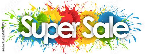 Fototapeta super sale word in splash's background obraz