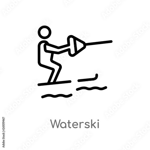 Fotografie, Obraz  outline waterski vector icon