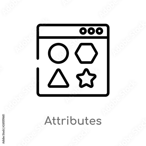 Photo outline attributes vector icon