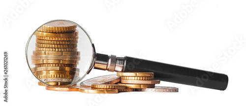 double exposure business concept with magnifying glass zoom