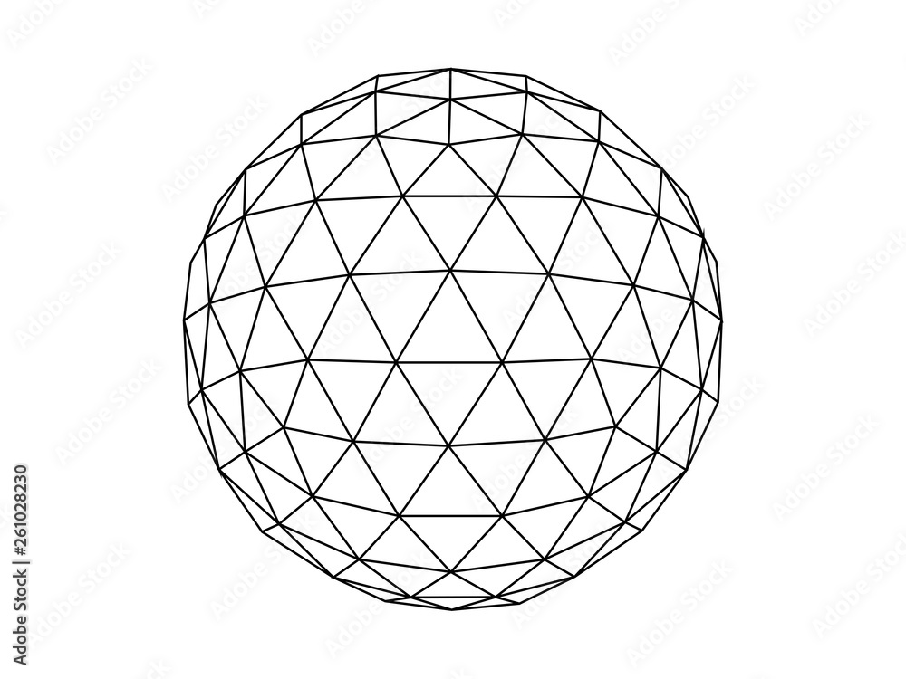Fototapety, obrazy: Geodesic sphere line illustration vector