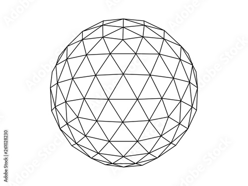 Geodesic sphere line illustration vector Fototapet