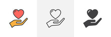 Hand Holding Heart Icon. Line,...