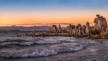 Golden Sunset On Mono Lake, Lee Vining, California. Tufa Formations On The Lake