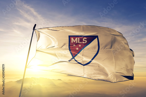 MLS Major League Soccer logo flag waving on the top sunrise mist fog Poster Mural XXL