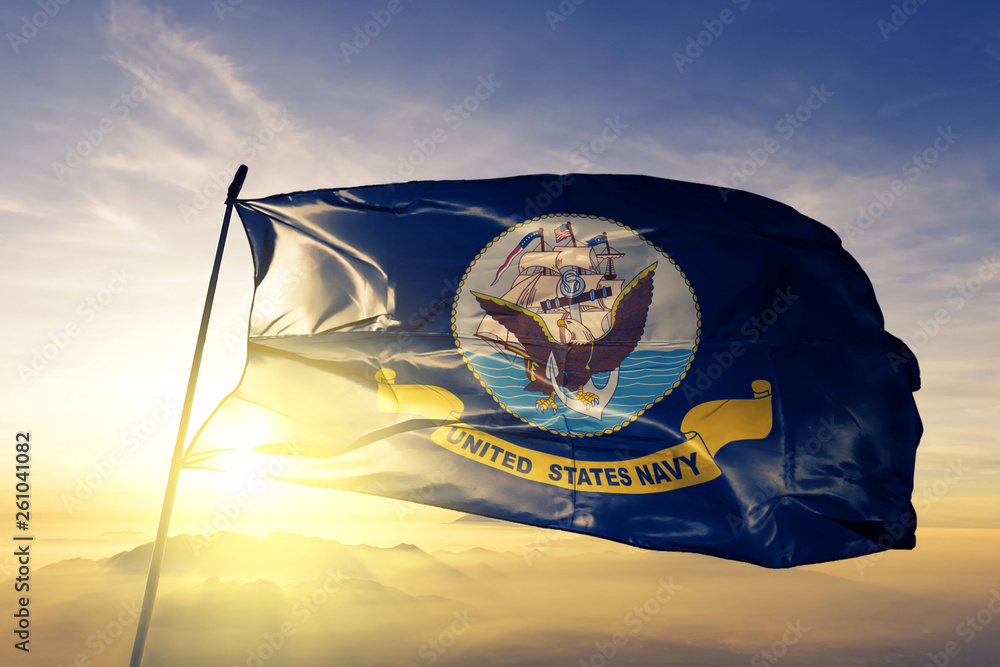 Fototapety, obrazy: United States Navy flag waving on the top sunrise mist fog
