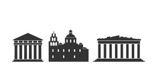 Greece Logo. Isolated Greek Architecture On White Background