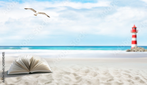 Fotografie, Obraz  Buch am Strand