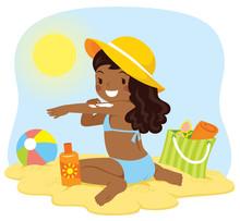 Cute Dark Skinned Girl Applying Sunscreen At The Beach