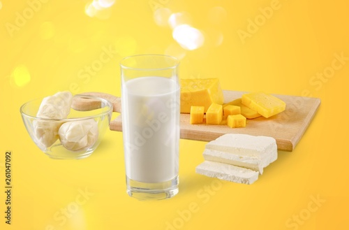 Fresh Dairy Products, Milk and Cheese isolated on white background