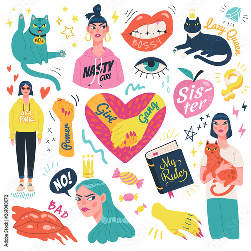 Girl power stickers collection. Vector illustration of feminist symbols, girls and funny cats in trendy flat style. Isolated on white background.