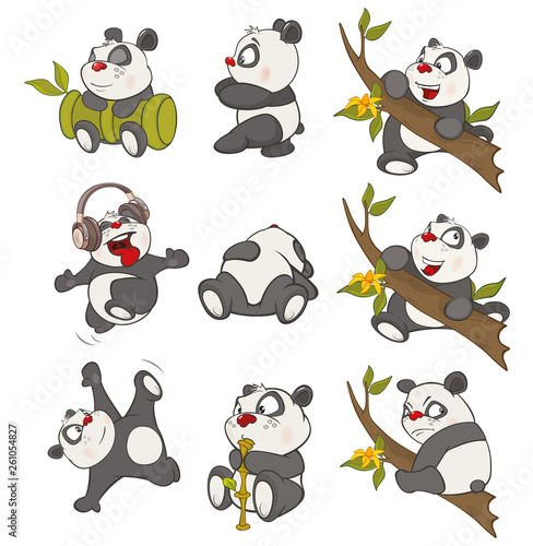 Foto op Aluminium Babykamer Vector Illustration of a set of Funny Panda Bear. Cartoon Character