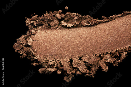 Eye shadow or blusher brown orange colored smudge black isolated background coll Wallpaper Mural