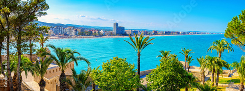 Landscape with defensive walls of castle and waterfront Peniscola. Spain