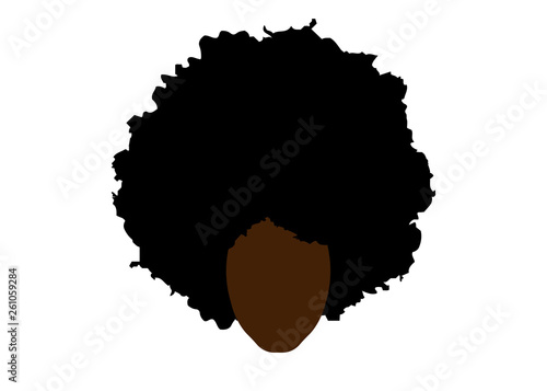 Photo curly afro hair, portrait African Woman , dark skin female face with ethnic trad