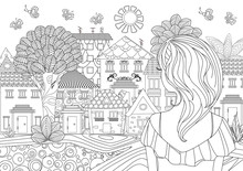 Pretty Girl Looking At Cityscape. Coloring Page