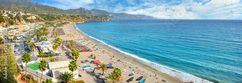 Nerja beach. Malaga province, Costa del Sol, Andalusia, Spain Canvas Print