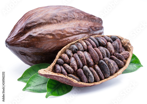 Fotomural  Cocoa pods and cocoa beans -chocolate basis isolated on a white background