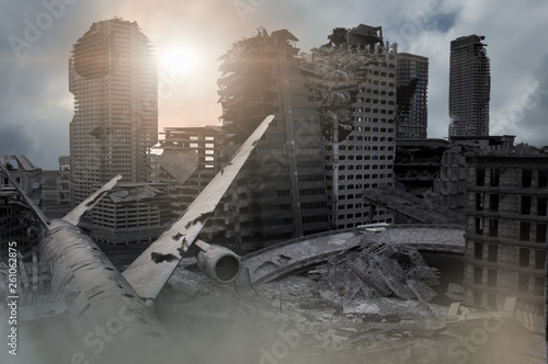 Aluminium Prints Dark grey view of the destroyed post-apocalyptic city 3D render