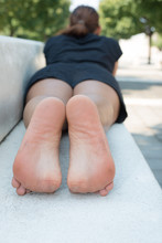 Bare Dirty Soles Woman Feet