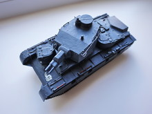 Model Of Plastic Tank. Soviet And Fascist Tanks. Details And Close-up.