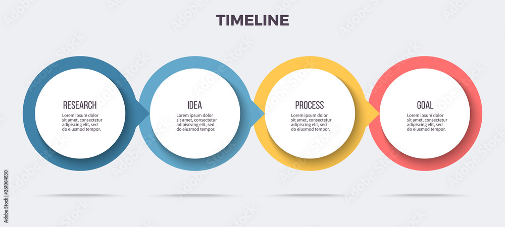 Fototapeta Business infographics. Timeline with 4 steps, options, circles. Vector template.
