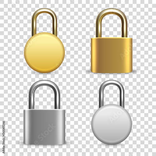 Fotografia Vector 3d Realistic Closed Metal Golden and Silver Padlock Icon Set Closeup Isolated on Transparent Background